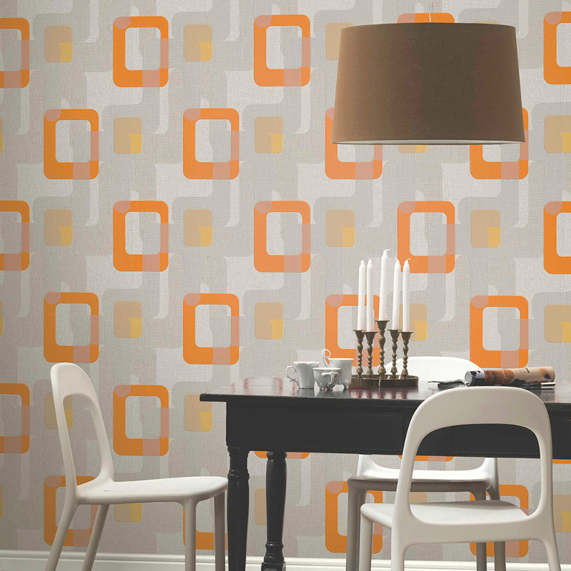p s international novara retro wallpaper in orange. Black Bedroom Furniture Sets. Home Design Ideas
