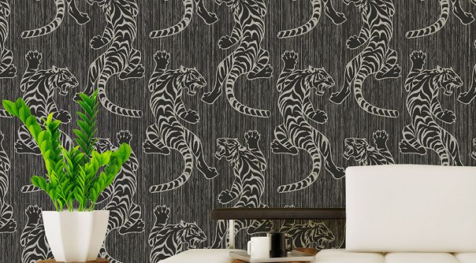 Vymura Tiger Glitter Wallpaper in Jet Black