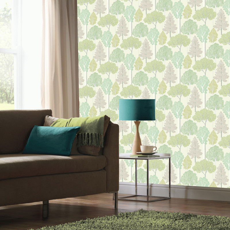 Arthouse Ellwood Glitter Trees Wallpaper Green