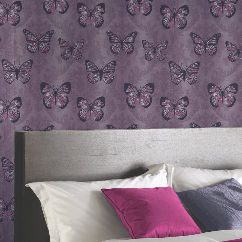 Arthouse Midsummer Butterfly Glitter Wallpaper Plum
