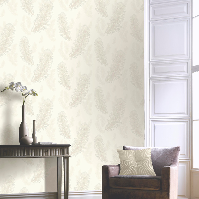 Arthouse Sirius Feather Glitter Wallpaper Pearl