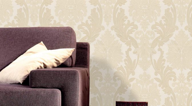 Belgravia Decor Lazio Damask Glitter Wallpaper – Cream