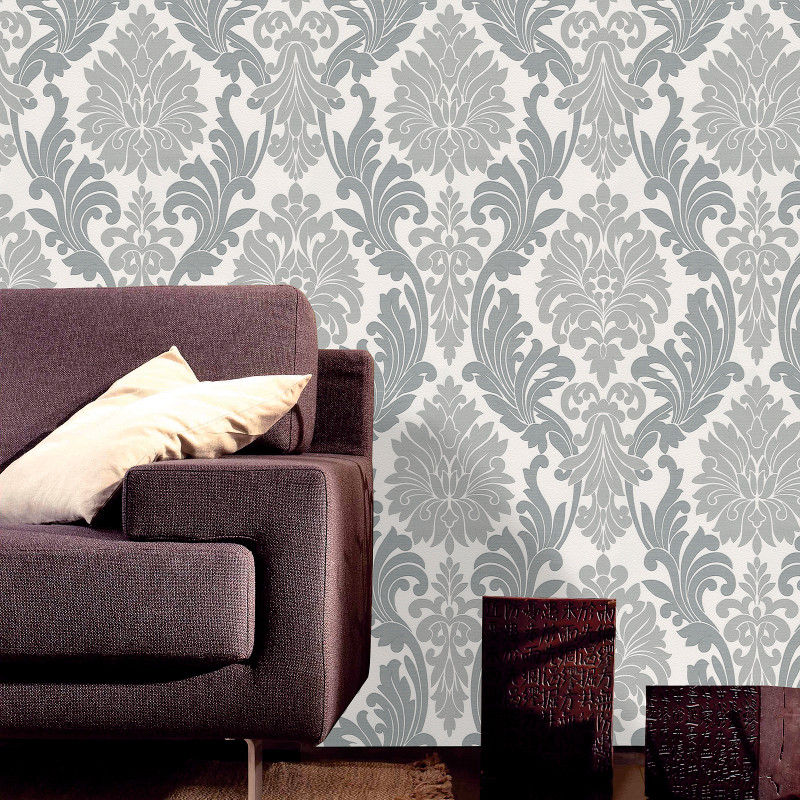 Belgravia decor lazio damask glitter wallpaper silver for Black white damask wallpaper mural