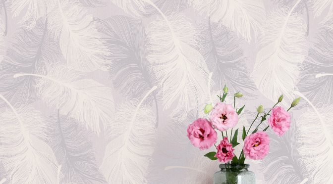 Coloroll Feathers Glitter Wallpaper – Lilac