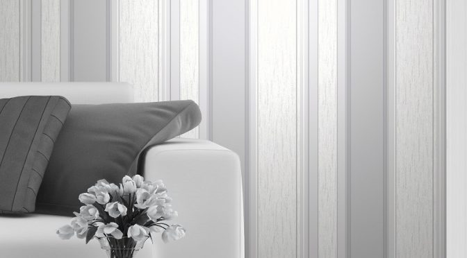 Vymura Synergy Glitter Stripe Wallpaper – Dove Grey