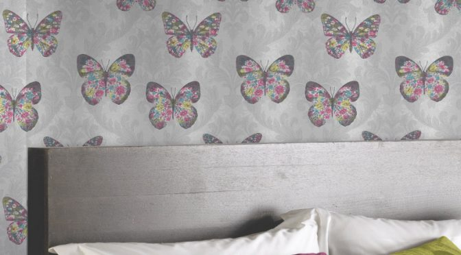 Arthouse Midsummer Butterfly Glitter Wallpaper – Dove