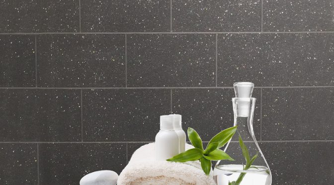 Crown London Glitter Tile Wallpaper here in Black