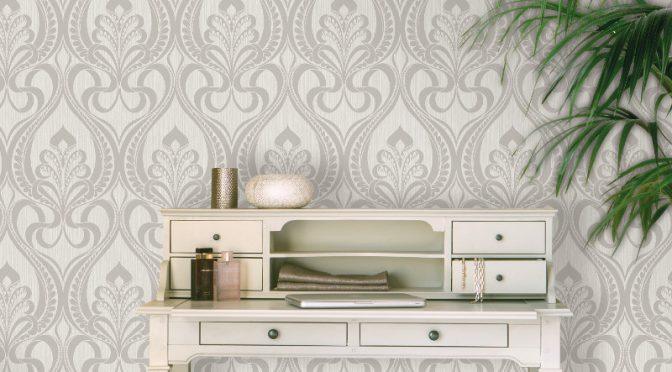 Art Nouveau Wallpaper Grandeco Damask Glitter – Silver