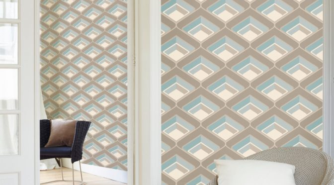 Grandeco Geometric Glitter Wallpaper – Teal and Mocha