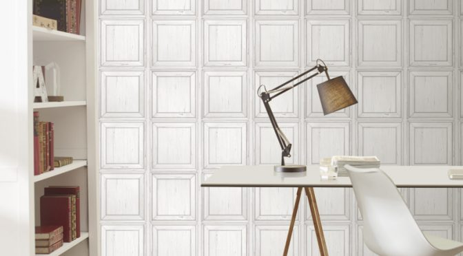 White Wood Effect Panel Wallpaper