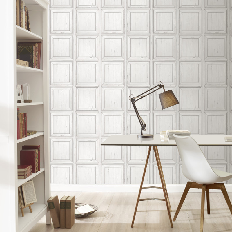 Rasch White Wood Effect Panel Wallpaper