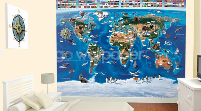 Walltastic Map of the World Wallpaper Mural
