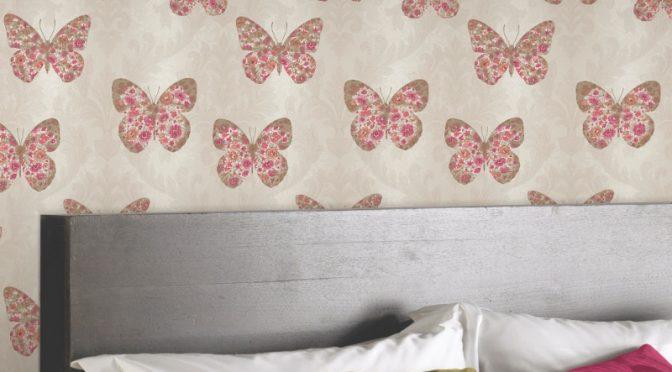 Arthouse Midsummer Plum Butterfly Glitter Wallpaper