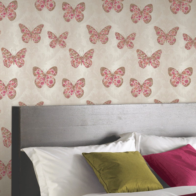 Arthouse Midsummer Butterfly Glitter Wallpaper In Red