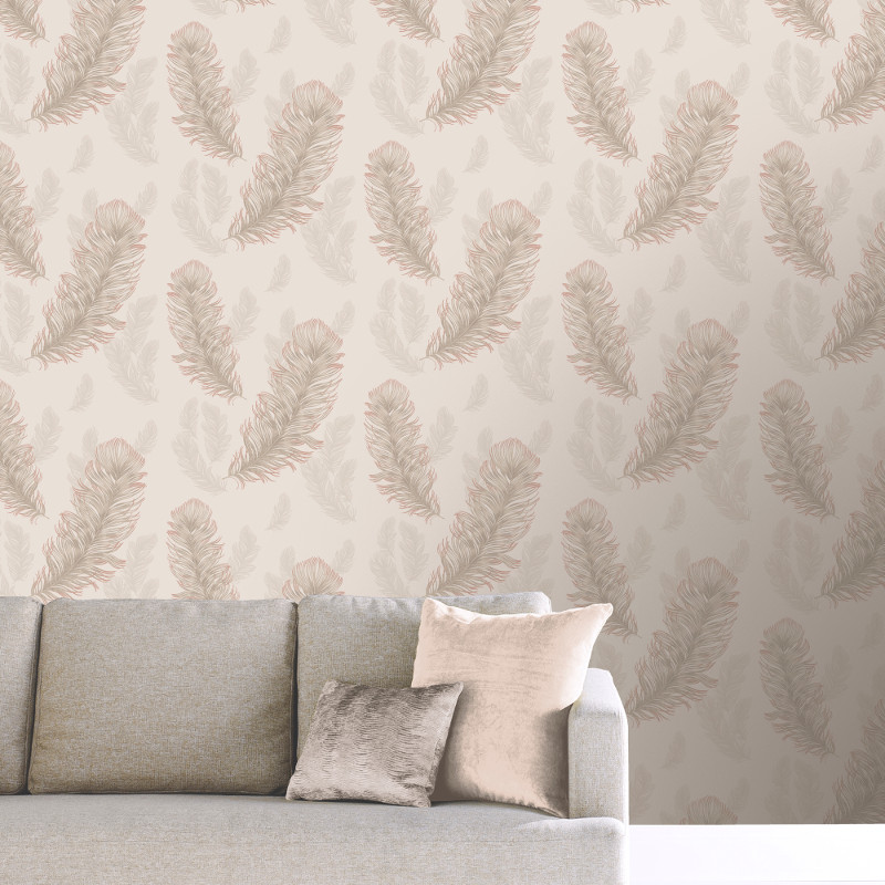 Arthouse Sirius Feather Glitter Wallpaper In Rose Gold