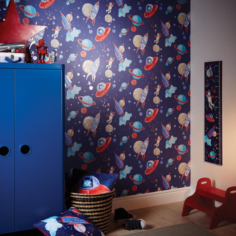 Arthouse Glitter Detail Kids Girls Bedroom Wallpaper: Arthouse Space Man Rocket Glitter Wallpaper In Blue