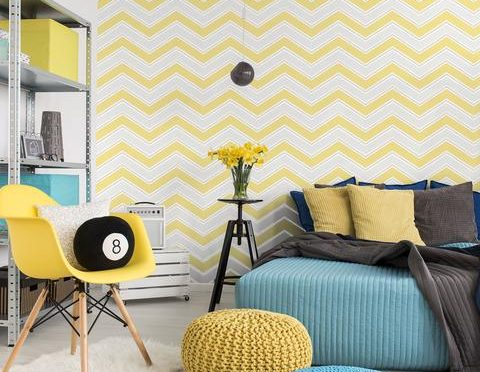 Coloroll Chevron Geometric Wave Yellow Glitter Wallpaper