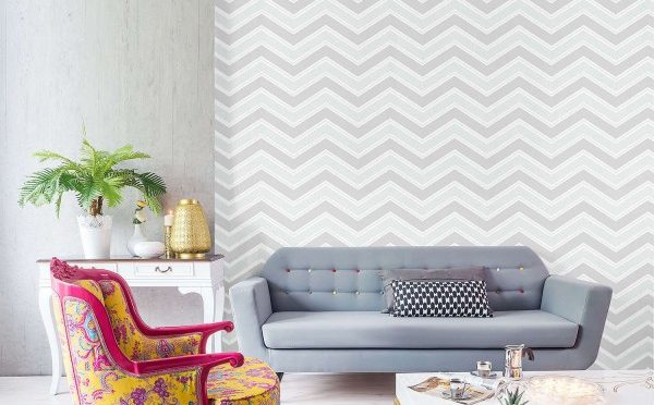 Coloroll Chevron Geometric Wave Grey Glitter Wallpaper