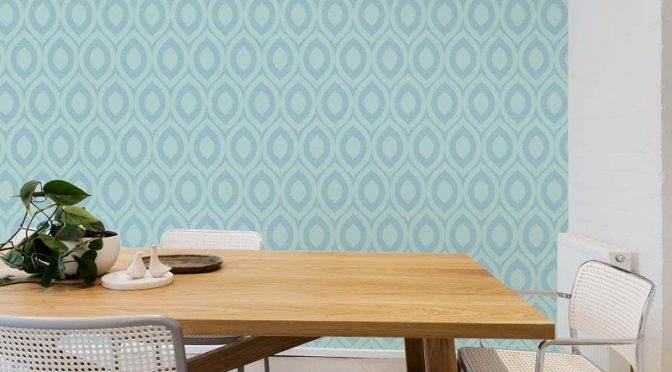 Rimini Geometric Duck Egg Wallpaper –  Take A Tour with Crown