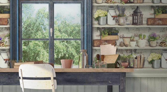 Muriva Potting Shed Multi-Coloured Wallpaper