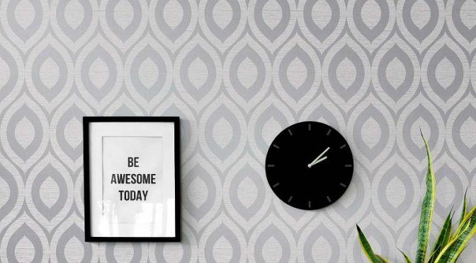 Crown Rimini Geometric Grey Wallpaper – Retro Designs