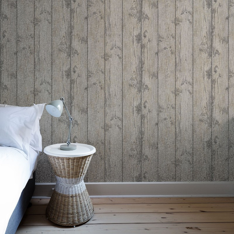 Crown windward wood panel wallpaper mid grey glitter - Wood effect bathroom wallpaper ...
