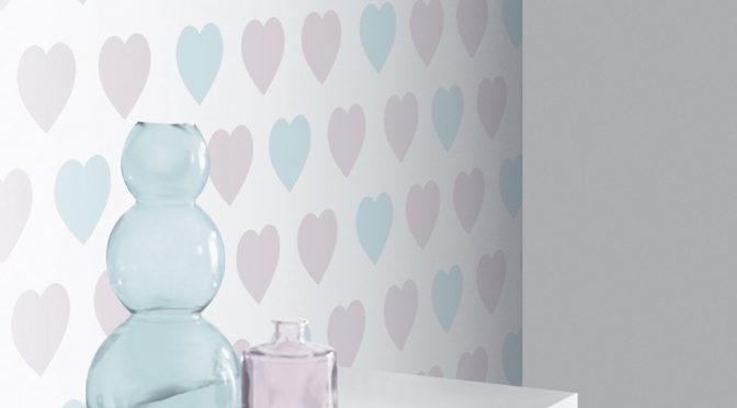 Arthouse Sweetheart Lilac Teal Glitter Wallpaper – Pastel Hearts