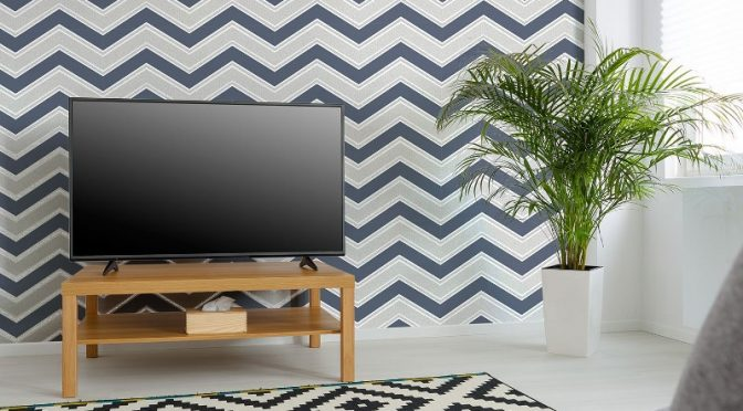 Coloroll Chevron Geometric Wave Blue Glitter Wallpaper