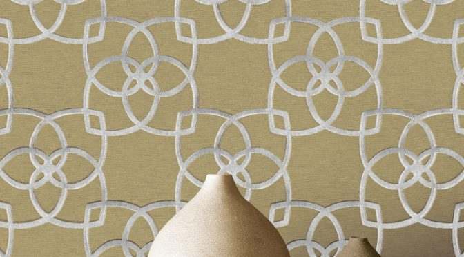 Muriva Marrakesh Geo Silver Gold Glitter Wallpaper