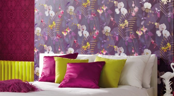 Arthouse Pindorama Floral Leaf Plum Wallpaper – Tropics Collection