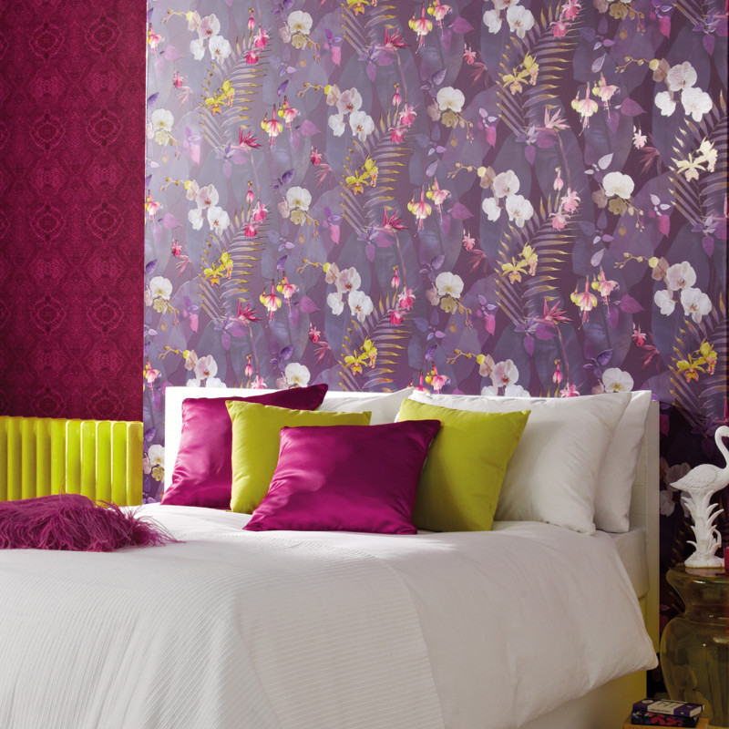 Arthouse Pindorama Floral Leaf Plum Wallpaper Tropics