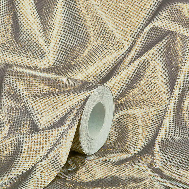 Muriva Sparkle Wallpaper Bronze: Muriva Faux Crushed Satin Gold Glitter Wallpaper