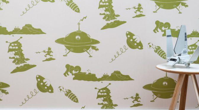 PaperBoy The Final Frontier Cream Green Wallpaper – Child's Bedroom