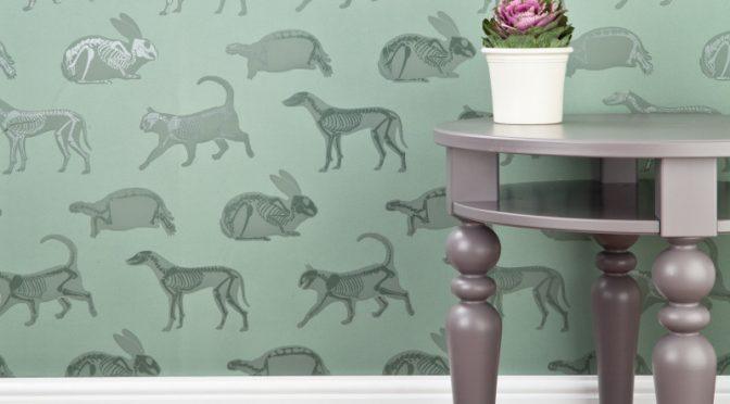 PaperBoy Animal Magic Green Wallpaper – A Skeletal Twist