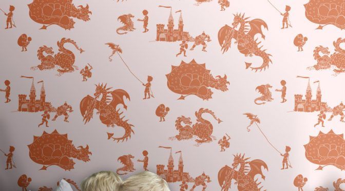 Paperboy Ere-be-dragons Stone Taupe Wallpaper – Boys Bedroom