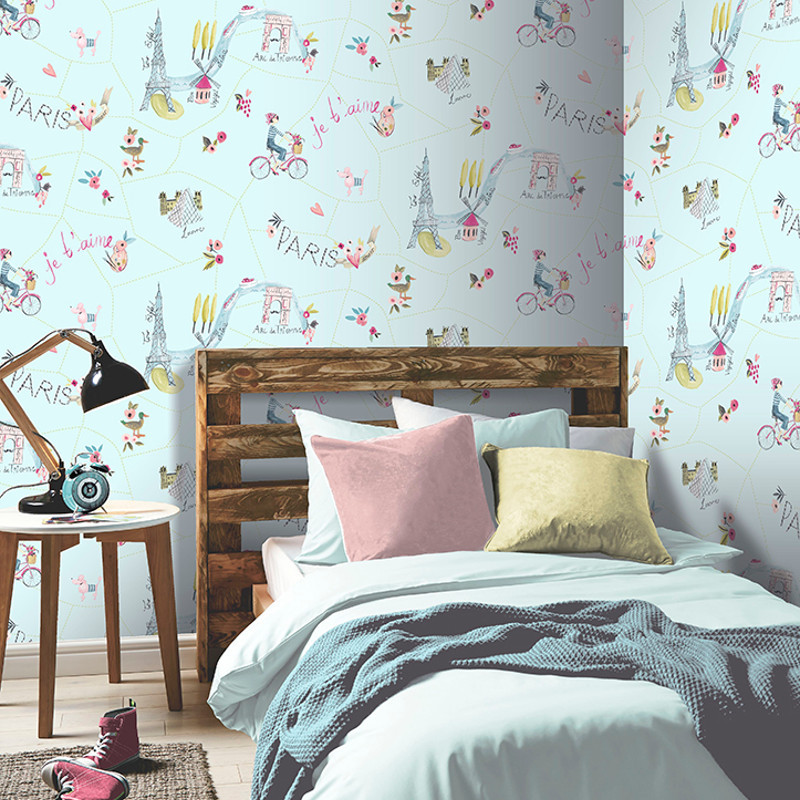 Arthouse Paris Duck Egg Glitter Wallpaper Imagine Fun 2