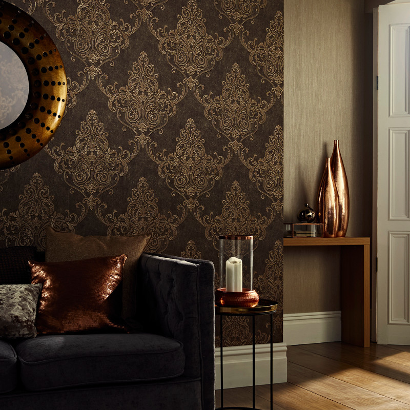 Arthouse Valdina Damask Bronze Glitter Wallpaper