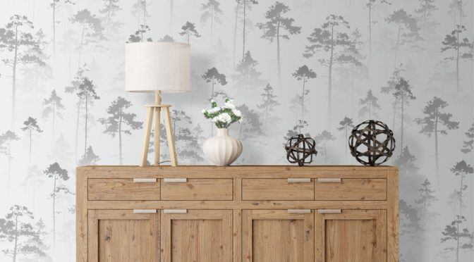 Muriva Sherwood Tree Silver Wallpaper – Shimmering Features