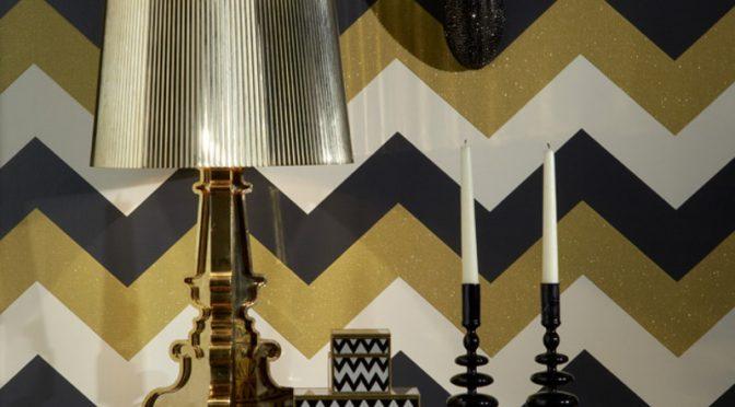 Arthouse Chevron Black Gold Glitter Wallpaper – Glittering Glamour