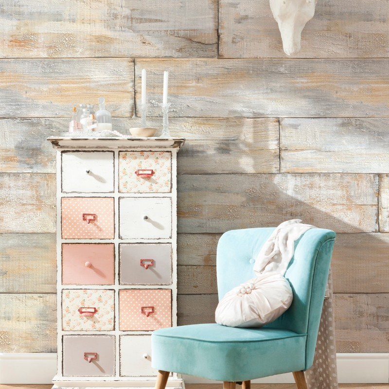 komar shabby chic wall mural with hints of pastel. Black Bedroom Furniture Sets. Home Design Ideas