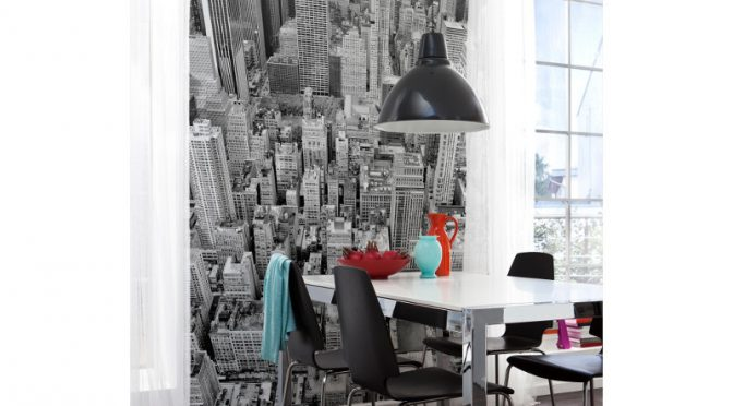 Komar Uptown Scene Wall Mural – Love Black & White