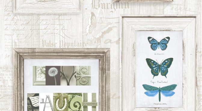 Muriva Live Laugh Love Wallpaper in Blue – Frames Collection
