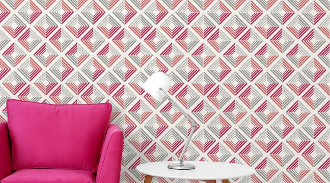 Coloroll Echo Geometric Coral Glitter Wallpaper