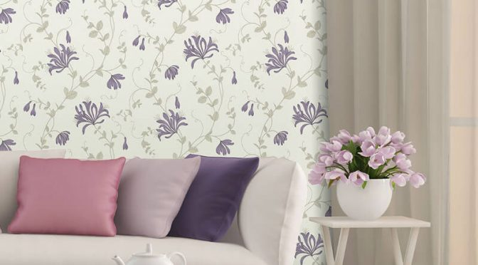 Crown Amelie Floral Plum Wallpaper