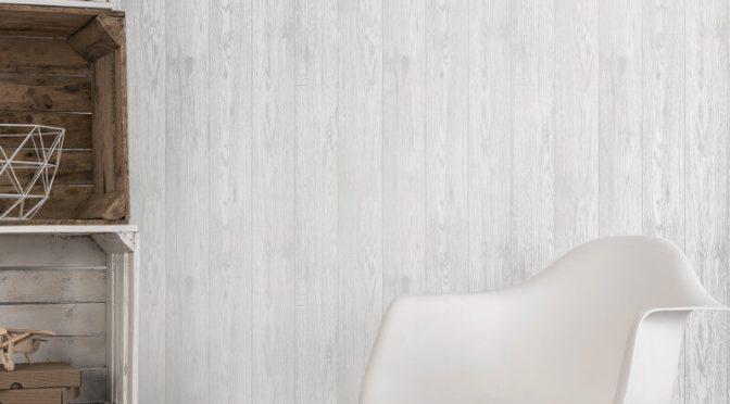Fine Decor Loft Wood White Metallic Wallpaper