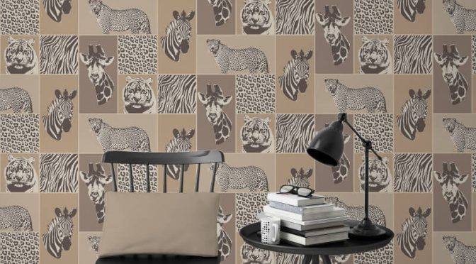Fine Decor Novelty Safari Animal Natural Wallpaper