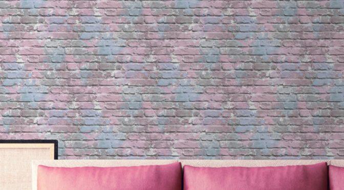 Muriva Camouflage Brick Lilac Wallpaper