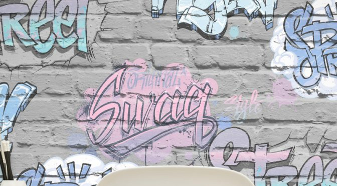 Muriva Street Style Graffiti Grey Wallpaper