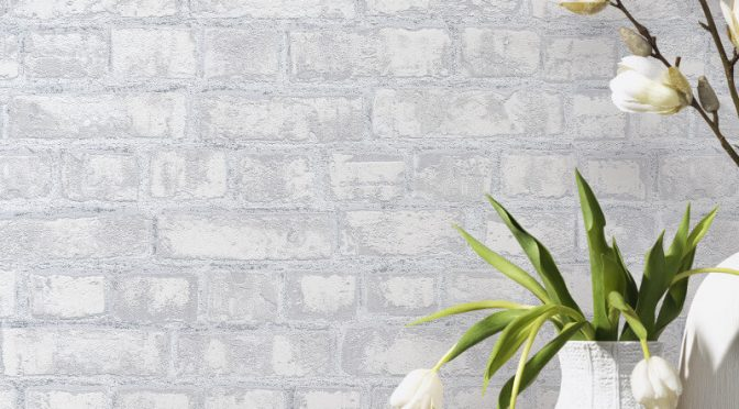 P&S International Rustic Brick Grey Wallpaper