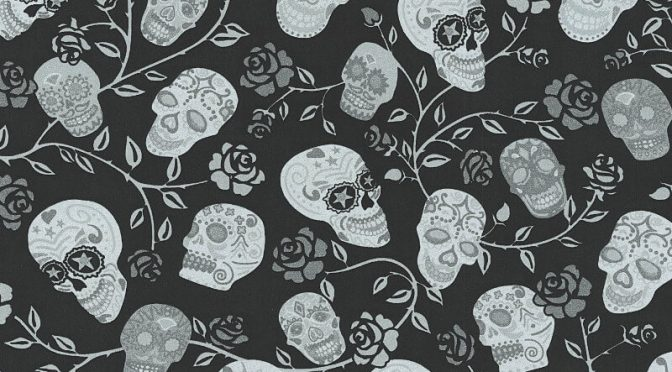 P S International Skulls Rose Black Glitter Wallpaper